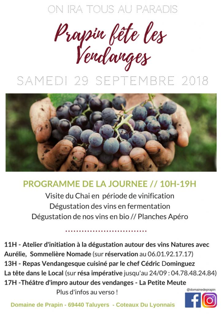 Programme fêtes des vendange domaine de prapin coteaux du Lyonnais